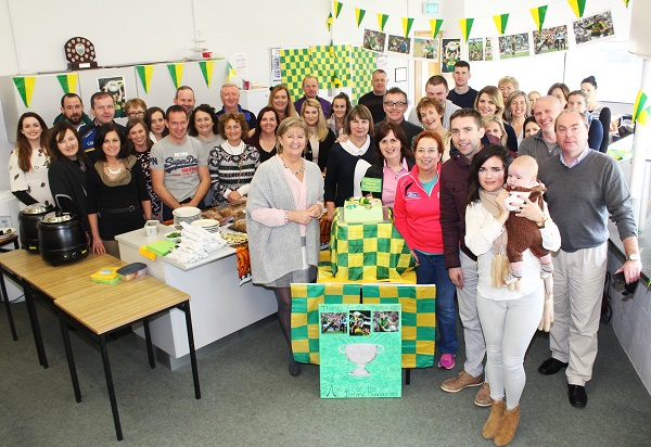 Marc O'Se was given a surprise party by his colleagues in CBS The Green for the service he gave to the Kerry football team. Photo by Gavin O'Connor.
