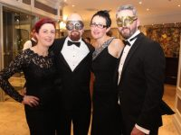 Noreen and Martin Brosnan, Helen O'Neill McAuliffe and Bernie McAuliffe at the Pieta House Masquerade Ball in The Rose Hotel on Friday night. Photo by Dermot Crean