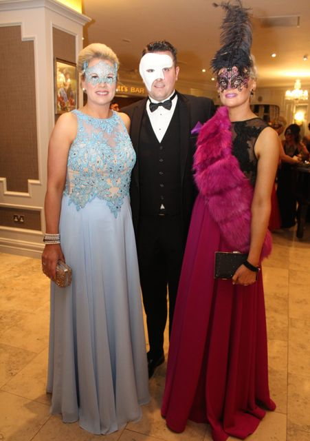 Diane Jeffers, Jonathan Cahill and Margaret Hines Cahill at the Pieta House Masquerade Ball in The Rose Hotel on Friday night. Photo by Dermot Crean