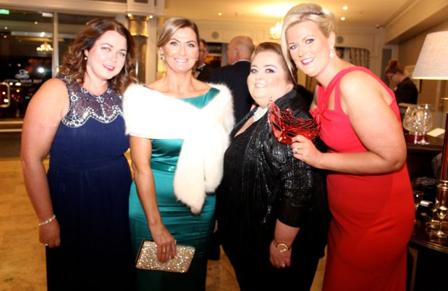 Marie Fitzgibbon, Joan McElligott, Siobhan Power and Lisa Ferriter at the Pieta House Masquerade Ball in The Rose Hotel on Friday night. Photo by Dermot Crean