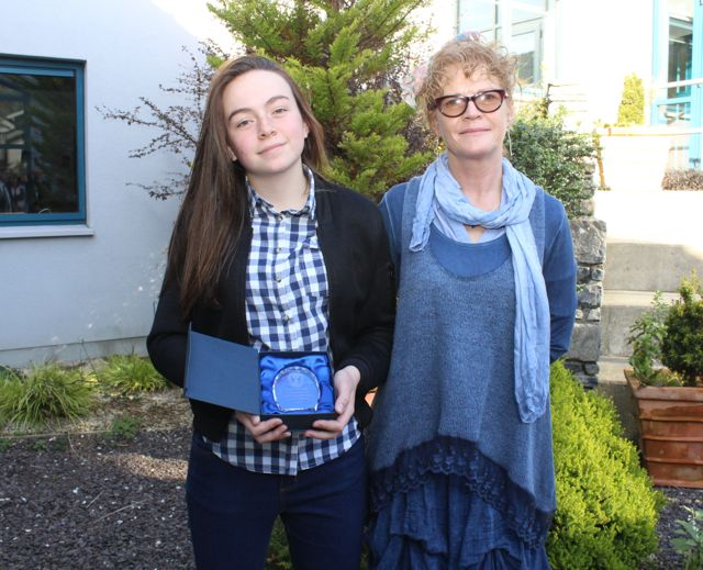Mary O'Connell who got 8As in her Junior Cert with Brid Carroll at the Mercy Mounthawk awards for high-achieving students in State exams on Saturday. Photo by Dermot Crean
