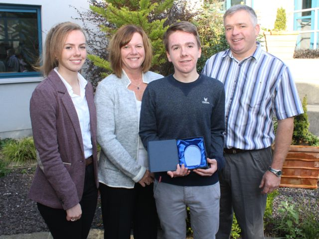 Tiernan Brosnan, who got 9As in his Junior Cert, with family Sadhbh, Susan and John Brosnan, at the Mercy Mounthawk awards for high-achieving students in State exams on Saturday. Photo by Dermot Crean
