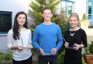 Leaving Cert 2016 students Caoimhe Barry Walsh (625 pts), Donagh O Buachalla (575 pts) and Emma Leahy (575 pts) at the Mercy Mounthawk awards for high-achieving students in State exams on Saturday. Photo by Dermot Crean