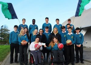 Receive a cheque from Mercy Mounthawk Transition Year students were members of Kingdom Wheelblasters, Saoirse Murphy, Lisa Hickey, Mauread Hickey and Leah Hickey