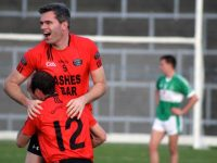 Bernard Murphy and Fergal Griffin celebrate at the final whistle. Photo by Dermot Crean