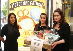 Manager of Peter Mark Tralee, Michelle O'Shea, Joanne Riordan, and Lorraine O'Gorman looking forward to the Petermarkathon in aid of Women's Aid from October 27-29. Photo by Dermot Crean