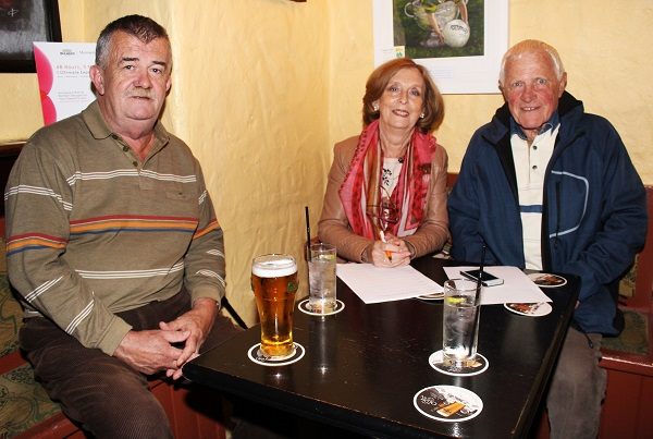 Tadhg Foley, Kay Lyons and Denis Lyons at the Special Olympics table quiz. Photo by Gavin O'Connor.