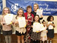 Sasha Stack, Emma Ryan Geraldine O'Connor, Andrea O'Callaghan, Katelyn Diggins, Eliie Nunas and Maureen Nunas at the Tenacity School of Performing Arts presentation of certificates on Saturday night. Photo by Dermot Crean