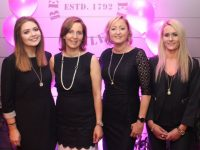 Ladies from Billy Nolan's and Hissers Jewellers, Amy Conway, Ciara Nolan, Louise Nolan and Trish Breen at the 'Think Pink, Think Positive' event at Benners Hotel on Thursday night. Photo by Dermot Crean