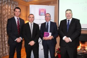 Paul Ward, AIB, John Fahey, AIB, Joe Shannon, AIB Tralee and Sean Healy, AIB at the AIB Brexit Briefing at Ballygarry House Hotel on Wednesday morning. Photo by Dermot Crean