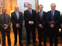 Louis Byrne, SPAR, Niall Lucey, PIerse McCarthy Lucey Solicitors, Billy Nolan, Hilsers Jewellers, Sean Healy, AIB, Nicky Benner, Kerry Motor Works, Paul Stephenson, Sherry Fitzgerald Stephenson Crean and Ger Carmoody, Ger Carmody Auctioneers at the AIB Brexit Briefing at Ballygarry House Hotel on Wednesday morning. Photo by Dermot Crean