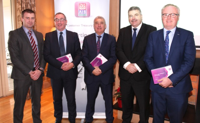 James Kelliher, Kelliher O'Shea, Castleisland, Joe Shannon, AIB Tralee, Ogie Moran, Sean Healy AIB and Paul Stephenson, Sherry Fitzgerald Stephenson Crean at the AIB Brexit Briefing at Ballygarry House Hotel on Wednesday morning. Photo by Dermot Crean