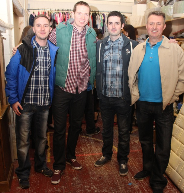 Leigh McCord, Mark Griffin, Owen Mullins and George Carey at the Adapt Fashion Show on Friday night. Photo by Dermot Crean