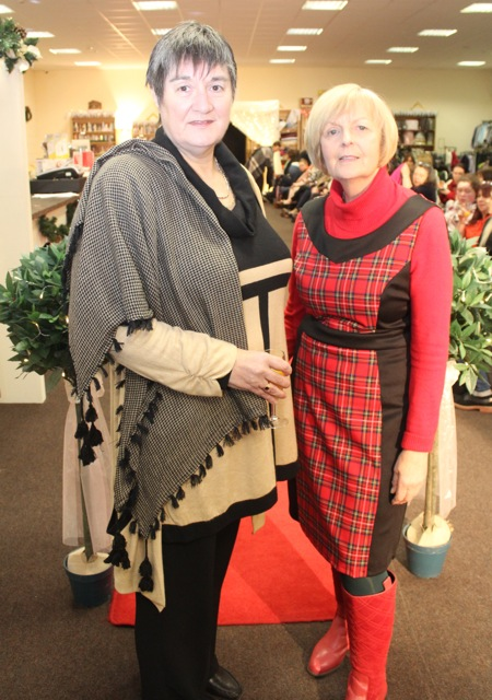 Chairperson of Adapt, Deirdre Murphy with Gina McElligott at the Adapt Fashion Show on Friday night. Photo by Dermot Crean