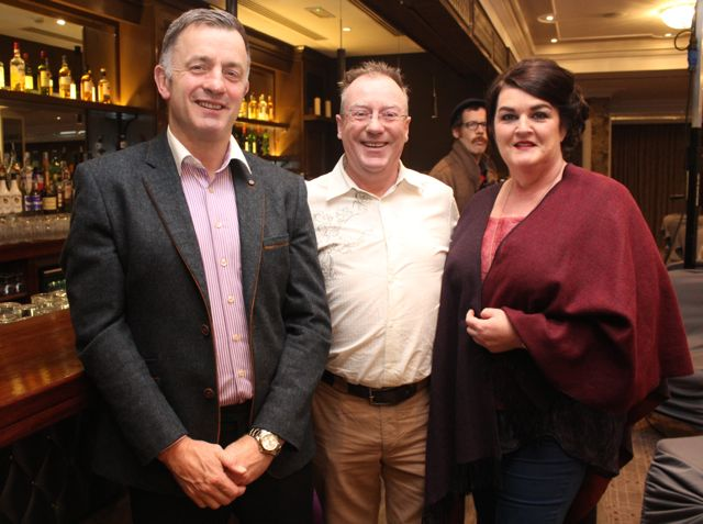 Pierce Ferriter, Thomas Ashe and Hannah Herlihy at the Aughacasla NS Fashion Show at the Rose Hotel on Friday night. Photo by Dermot Crean