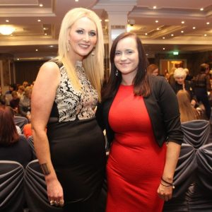 Sharon Sheehan and Catriona Ferriter at the Aughacasla NS Fashion Show at the Rose Hotel on Friday night. Photo by Dermot Crean