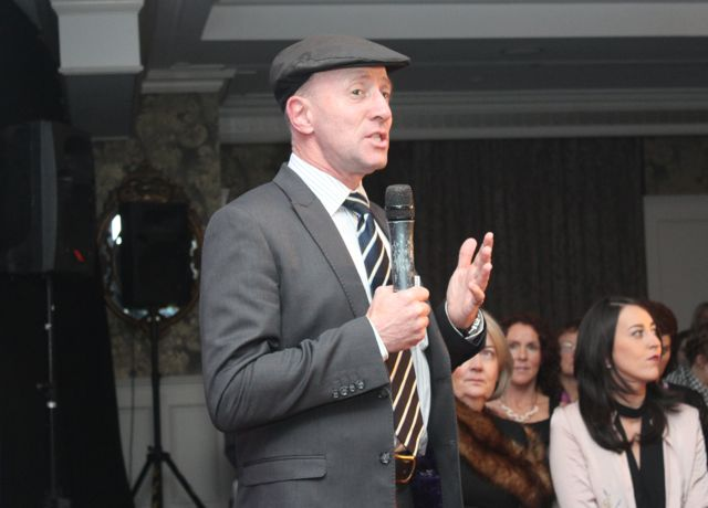 Michael Healy Rae addressing the crowd at the Aughacasla NS Fashion Show at the Rose Hotel on Friday night. Photo by Dermot Crean