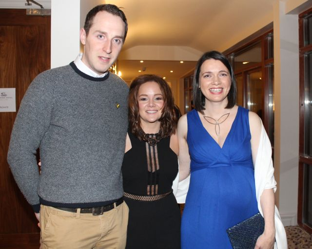 Staff at Aughacasla NS David Doyle, Christina O'Shea and Katie Cauley at the Aughacasla NS Fashion Show at the Rose Hotel on Friday night. Photo by Dermot Crean