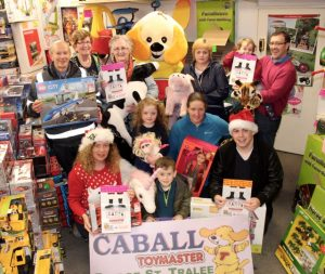 A group gathers for the launch of the Caballs Toymaster Christmas Toy Appeal for St Vincent de Paul at the Bridge Street store on Saturday morning. Photo by Dermot Crean