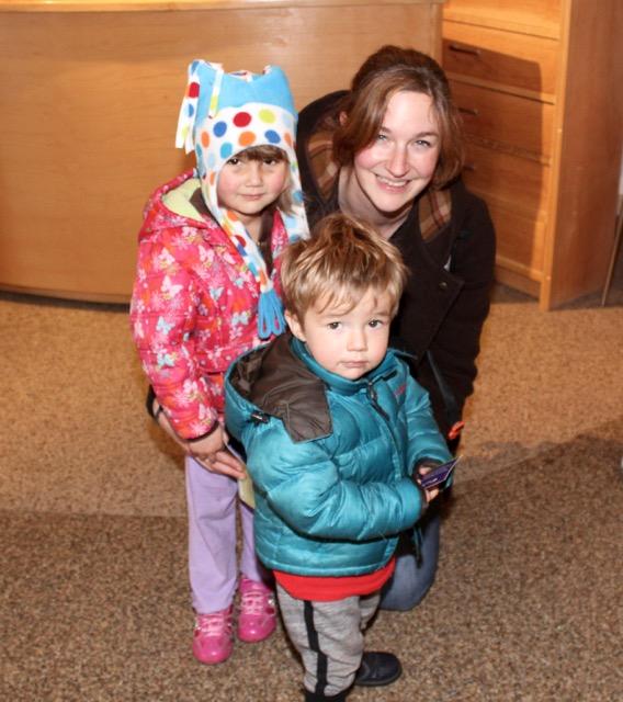 Anna Uí Dálaigh with Ariana and Oisín Ó Dálaigh at the Circus Siamsa Variety Show at Siamsa Tíre on Saturday afternoon. Photo by Dermot Crean