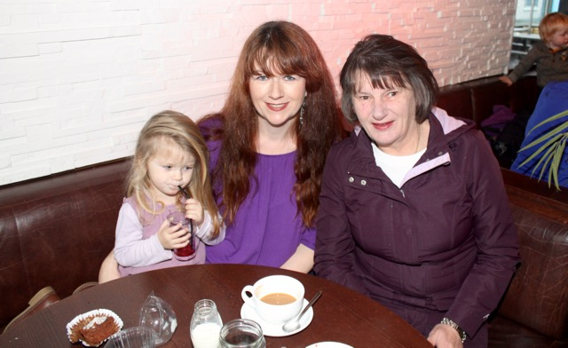 Jessica and Beth Quirke with Maura O'Donoghue at the coffee morning in aid of Irish Premature Babies at House/The Abbey Inn on Thursday. Photo by Dermot Crean