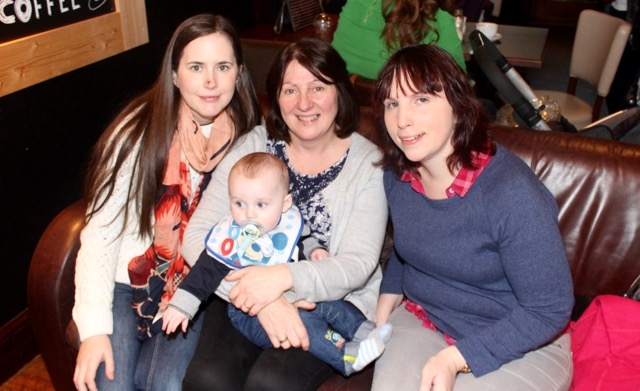 Melissa Dennehy, Catherine Murphy holding Aodhán and Marian O'Sullivan at the coffee morning in aid of Irish Premature Babies at House/The Abbey Inn on Thursday. Photo by Dermot Crean