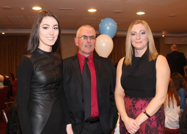 Katelyn, Billy and Fiona Cashman at the Tralee Harriers annual social and awards night at the Manor West Hotel on Friday night. Photo by Dermot Crean