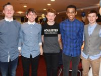 Cillian Griffin, Conor Commane, Jordan Kissane, Andrew O'Connell and Nikolai O'Connor at the Tralee Harriers annual social and awards night at the Manor West Hotel on Friday night. Photo by Dermot Crean