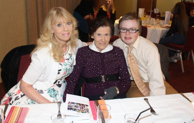 Mary Purcell, Kathleen Taylor and Liam Purcell at the Tralee Harriers annual social and awards night at the Manor West Hotel on Friday night. Photo by Dermot Crean
