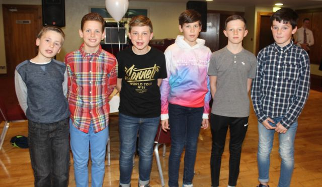 Cathal Murphy, Darragh Cunnane, Rory Reen, Darragh Murphy, Bobby Byrne and Paddy Falvey at the Tralee Harriers annual social and awards night at the Manor West Hotel on Friday night. Photo by Dermot Crean