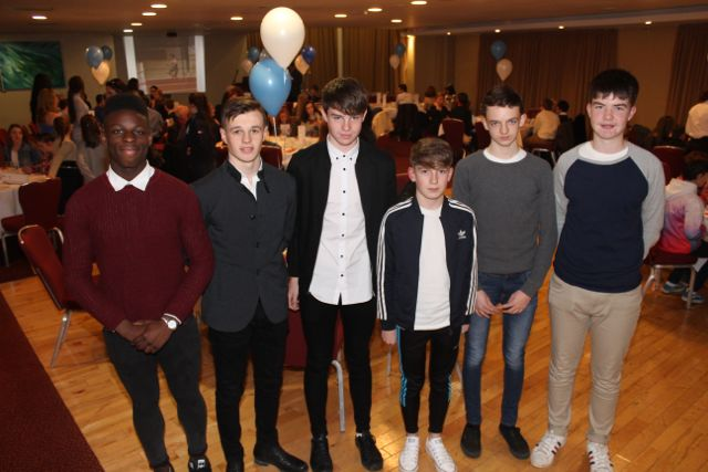 Dasit Oyebanji, Harry Emerson, Luke O'Carroll, Jack Falvey, Louis Byrne and Ben Quilter at the Tralee Harriers annual social and awards night at the Manor West Hotel on Friday night. Photo by Dermot Crean