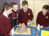 Jessica Raymond, Riona Downey, Jack McBride and Darragh O'Connor at Science Day in Holy Family School on Friday. Photo by Dermot Crean