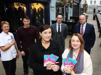 Launching the Ashe Street Festival were representatives of businesses on the street, from left: Lilian Holmes, Svajanas Jonavicius, Linda Mulcahy, Paul Horan, Deirdre Enright and Michaél Moran. Photo by Gavin O'Connor.