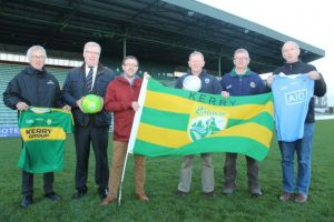 Welcoming the announcement of two Saturday night games for Tralee during Kerry's national league campaign were; Aidan O'Connor and Liam Lynch (Austin Stacks), John Drummey (Tralee Chamber Alliance), Paudie Dineen (Asst Treasures Kerry County Board), and Peter Twiss (Secretary Kerry County Board). Photo by Dermot Crean