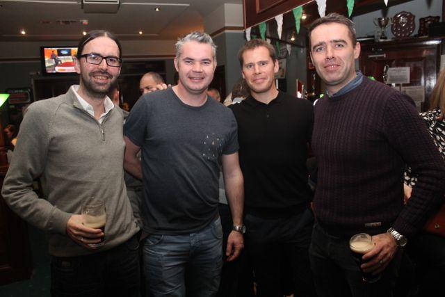 Tony Behan, Richard Barrett, Sean Moynihan and Donal Rooney at the Na Gaeil Race Night on Saturday night. Photo by Dermot Crean