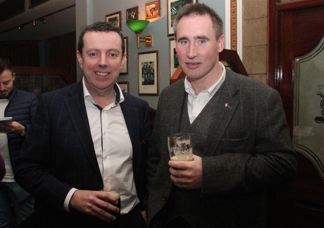 Morgan Sheehy and Tim Lynch at the Na Gaeil Race Night on Saturday night. Photo by Dermot Crean