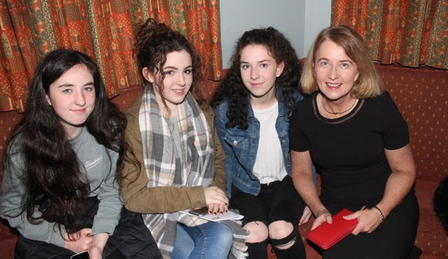 Isobel Crowe, Leah Shanahan, Emily and Lucy Crowe at the Na Gaeil Race Night on Saturday night. Photo by Dermot Crean