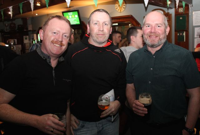 Anthony Guerin, Adrian McHugh and Eddie Sheehy at the Na Gaeil Race Night on Saturday night. Photo by Dermot Crean