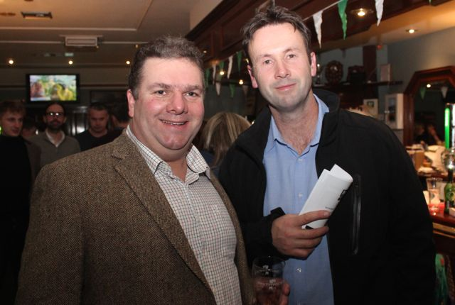 Denis Moriarty and Terry McEneaney at the Na Gaeil Race Night on Saturday night. Photo by Dermot Crean