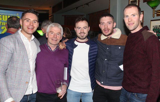 Sean Collins, Micheal Herlihy, Sean Herlihy, Diarmuid Herlihy and Kieran Herlihy at the Na Gaeil Race Night on Saturday night. Photo by Dermot Crean
