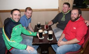 Andrew Morrissey, Jim McCarthy, Geared Carmody and Tadhg Meehan McCarthy at the Tralee Parnells GAA Club Table Quiz in Charlie's Bar at Kerins O'Rahillys on Friday night. Photo by Dermot Crean