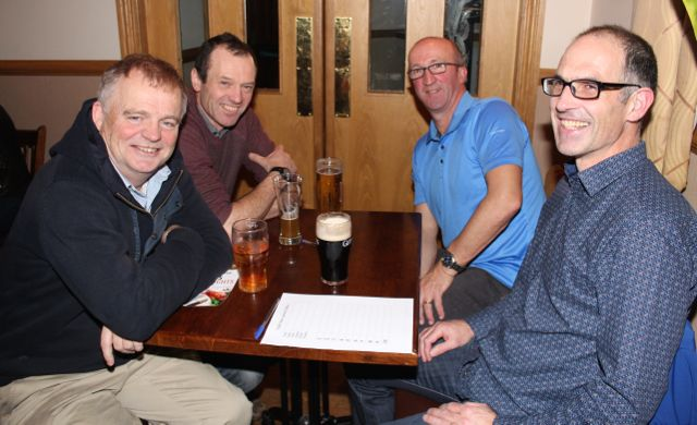 David Lenihan, Fergus McLysaght, Frank Ryan and Micheál Cassidy at the Tralee Parnells GAA Club Table Quiz in Charlie's Bar at Kerins O'Rahillys on Friday night. Photo by Dermot Crean