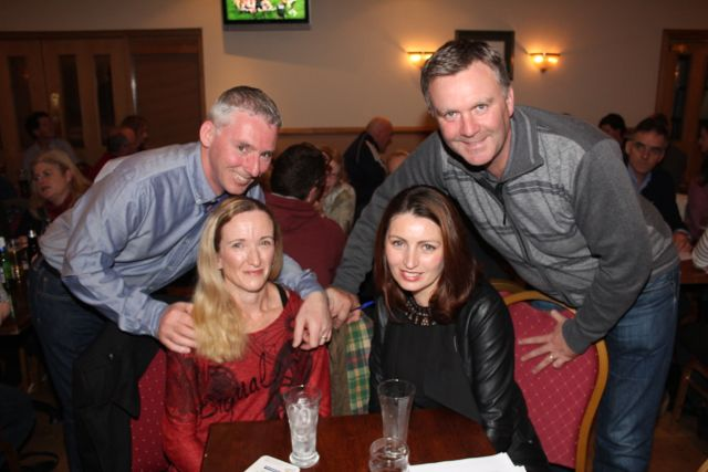 Brian and Catriona Sargent with Carmel and Graham Spring at the Tralee Parnells GAA Club Table Quiz in Charlie's Bar at Kerins O'Rahillys on Friday night. Photo by Dermot Crean