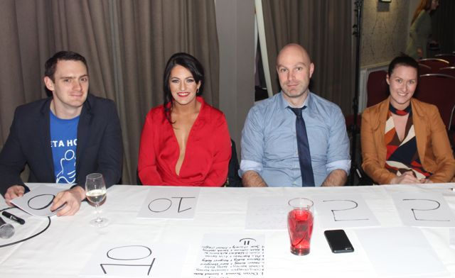 The Judges, Ciaran McCabe, Cassie Leen, Shane O'Rourke, Alice Chambers at the 'Strictly Come Dancing' event in aid of Pieta House at the Ashe Hotel on Thursday. Photo by Dermot Crean