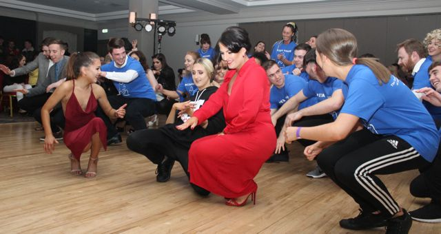 Contestants and others doing the opening dance at the 'Strictly Come Dancing' event in aid of Pieta House at the Ashe Hotel on Thursday. Photo by Dermot Crean