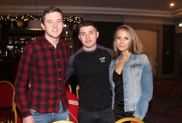 Dylan Carey, Ryan Dowling and Adelina Nikolajeva at the 'Strictly Come Dancing' event in aid of Pieta House at the Ashe Hotel on Thursday. Photo by Dermot Crean