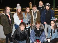In front; Odhran O'Hanlon, Brian Fitzpatrick and Natasha Tobin. Back from left; Leann Savage, Tara Foran, Caoimhe Tobin, Tim McMahon, Gitas Marcisauskas and Micheal Flynn at the Presentation Secondary School Night at the Dogs on Friday night. Photo by Dermot Crean