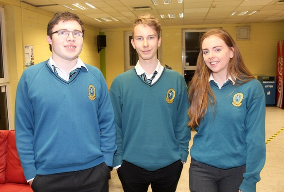Mercy Mounthawk students, Tom Moriarty, Samuel Brzyskiewicz and Aoife O'Carroll at the ISTA Kerry quiz at IT Tralee South Campus on Thursday night. Photo by Dermot Crean