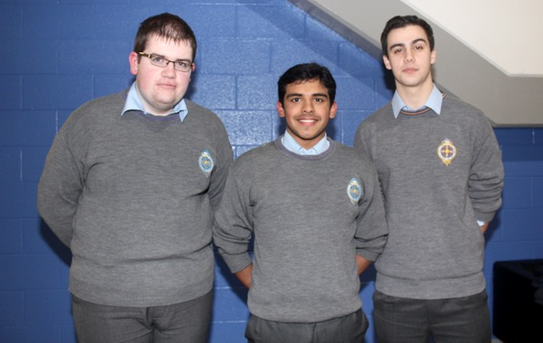 Gearóid O'Connor, Jebin John and Kieran Murnal at the ISTA Kerry quiz at IT Tralee South Campus on Thursday night. Photo by Dermot Crean