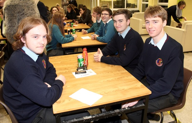 Sean Williams, Adam Dowling and John Crowley at the ISTA Kerry quiz at IT Tralee South Campus on Thursday night. Photo by Dermot Crean